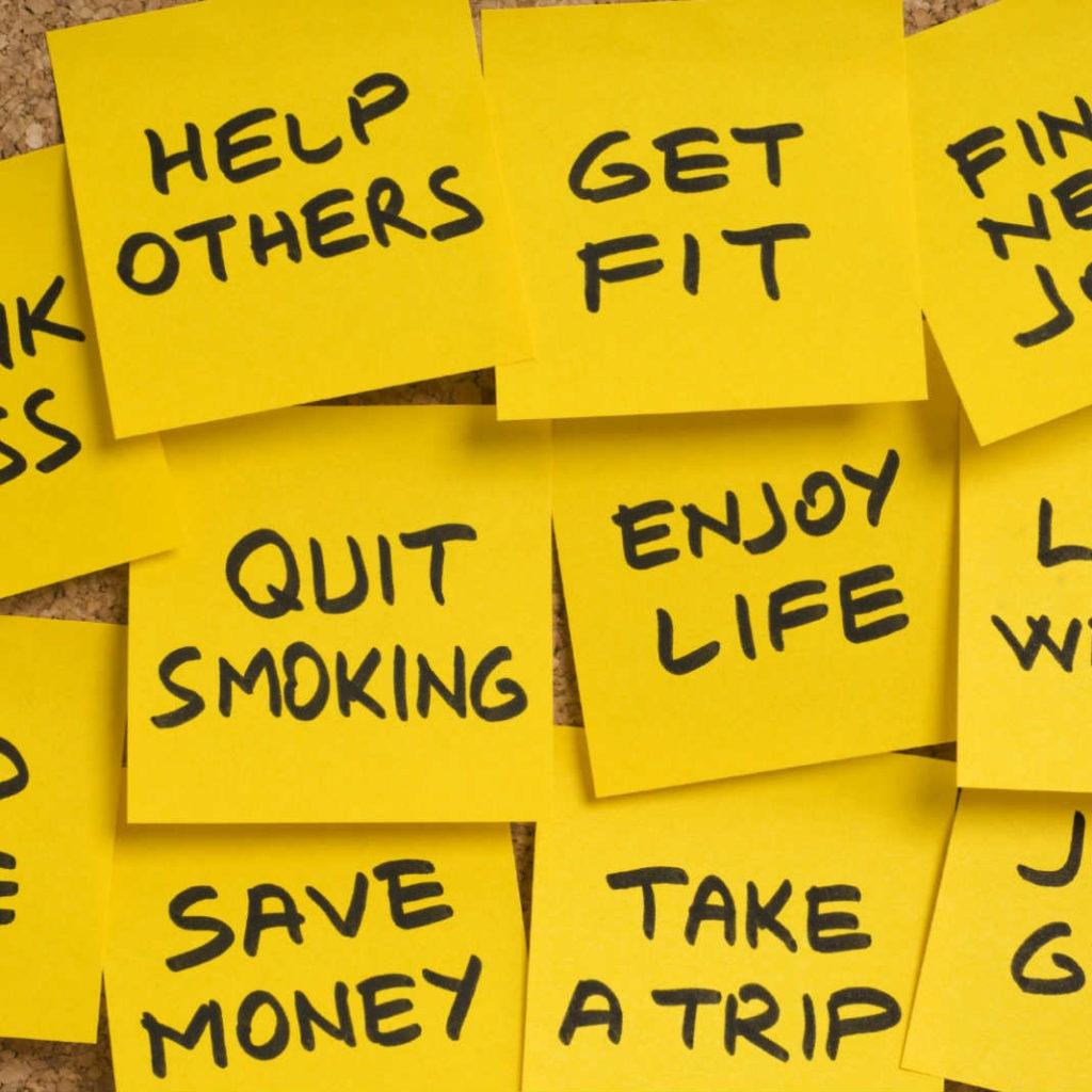 Post it notes of goals