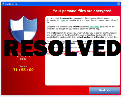 CryptoLocker Resolved