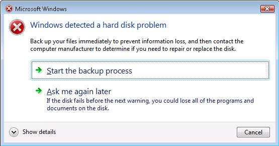 Laptop hard drive warning
