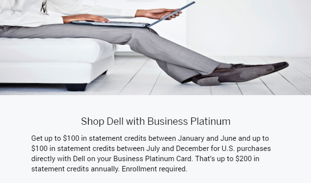 Dell $200 credit in 2020 for American Express Platinum cardholders